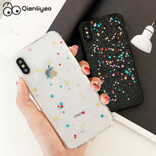 Qianliyao For iphone 11 Pro Max XS XR Case Bling Colorful Star Silicon Clear Cover Glitter for 6 6s 7 8 plus X cases