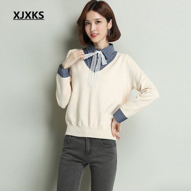 e447d1e90c96 XJXKS 2018 autumn and winter new young lady knitted sweater stitching Fake  two pieces Loose version cashmere women sweater
