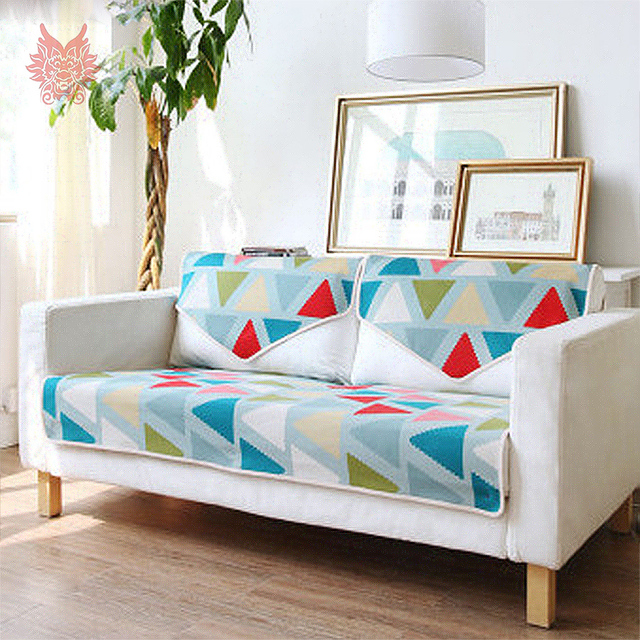 American Style High Grade Geometric Sofa Covers Pure Cotton Cover Slipcovers Canape Sp3414 Four Season