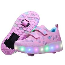 Tênis infantis, novidade, rosa, azul, vermelho, carregador usb, para meninos, meninas, luz de led, sapatos de skate, para crianças, com rodas duas rodas