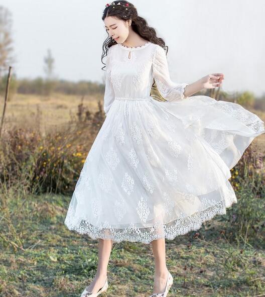 Medio Nuove Donne Delle lungo Bianco 2018 Vestito Autunno Elegante Sottile Ricamato Di Un Pizzo Garza Pezzo 5wvSSxEq
