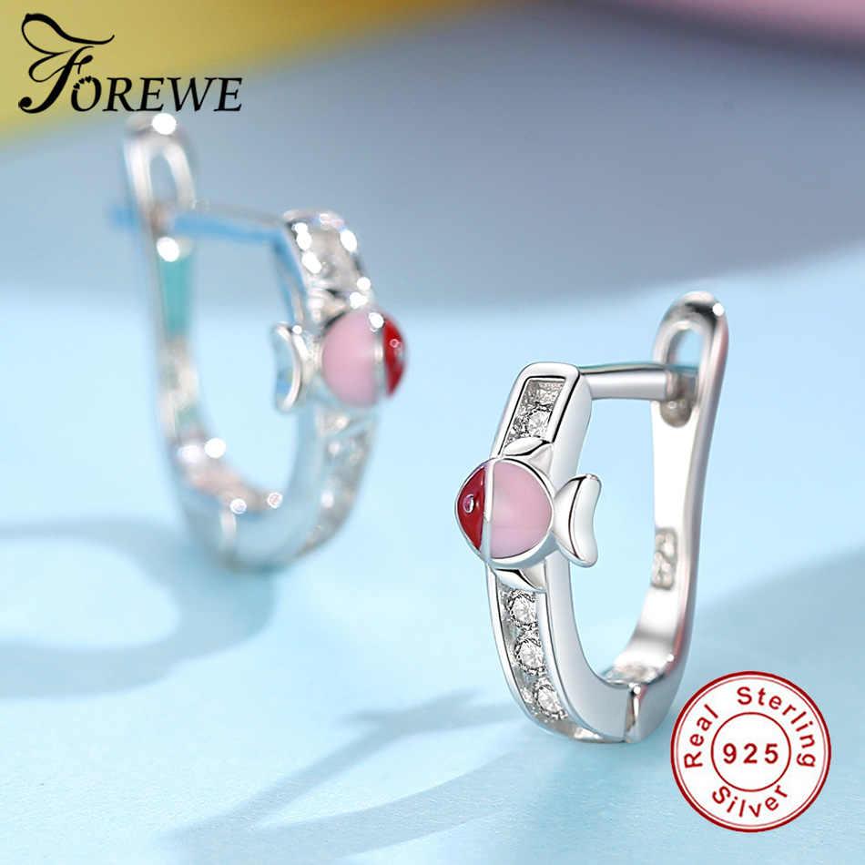 a07b418b1 ... FOREWE Sweet Cute Pink Blue Enamel Fish Small Hoop Earrings for Kids  Children Girls Lovely Animal ...