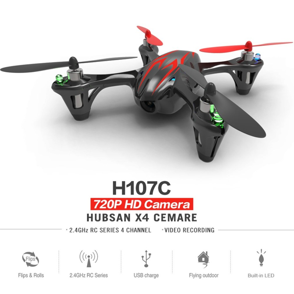 Hubsan X4 H107C 2.4GHz 4 Channels 6-axis Gyro Portable Mini Drone RTF RC Quadcopter With 2MP Camera 3D Flips Built-in LED 7 4v 2700mah 10c battery 1 in 3 cable usb charger set for hubsan h501s h501c x4 rc quadcopter