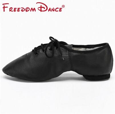Högkvalitativa Pig Leather Lace Up Jazz Dance Shoes Mjuk Ballett - Gymnastikskor - Foto 5