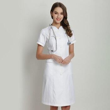 Scrub Dress Nursing Dress Beautician Work Uniform White for Women Summer Stretch SPA Uniforms Gorgeous