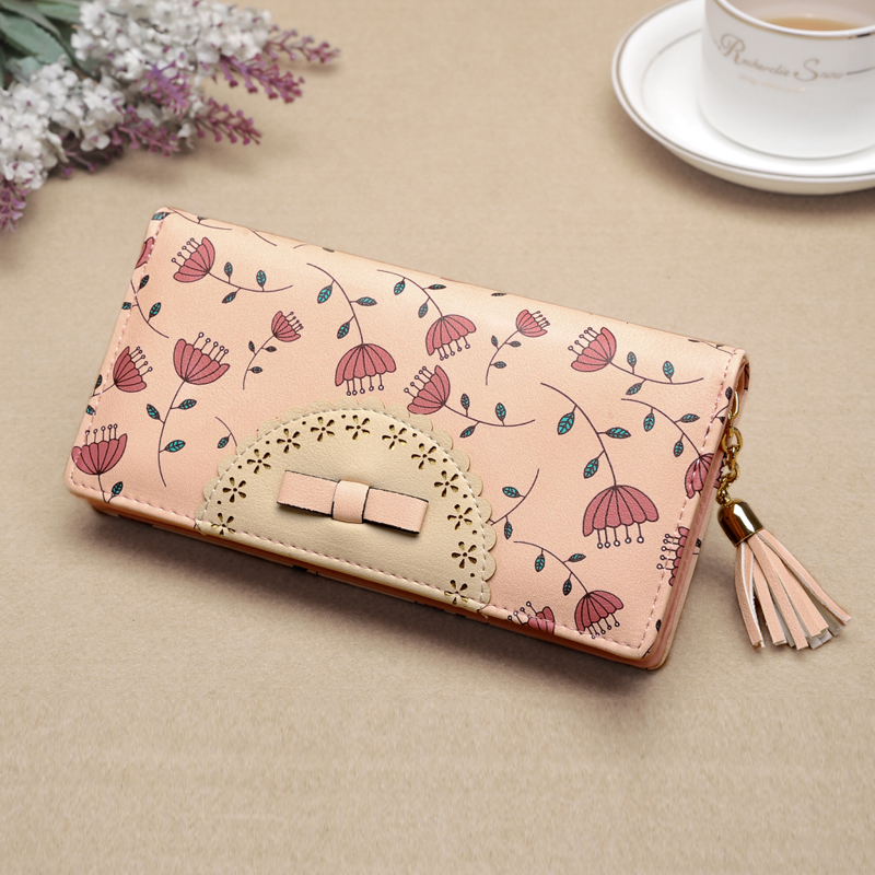 Luxury Brand Women Wallets Dandelion Leather Wallet Female Flower Coin Purse Wallet Women Wristlet Money Bag Small Bag Envelope new fashion luxury brand women wallets plaid leather wallet female card holder coin purse wallet women wristlet money bag small