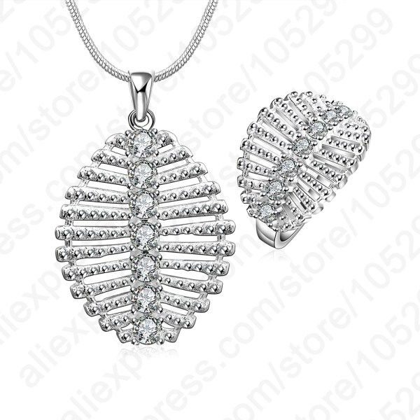 Jewelry-Sets Necklace-Ring Pendant Crystal Gift 925-Sterling-Silver Cubic-Zirconia Solid