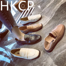 HKCP Fashion Retro flat soled shoes ins new spring 2019 small leather for ladies - go with one shoe at a time C036