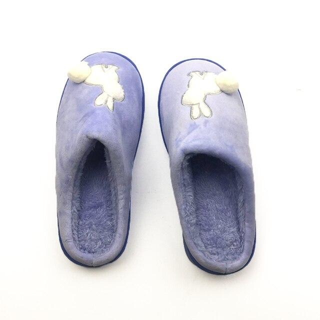 Winter Thicken Women Slippers Cartoon Rabbit Cute Plush Ball Decorate Flip Flops Warm Antislid Fashion Brand Woman Shoes