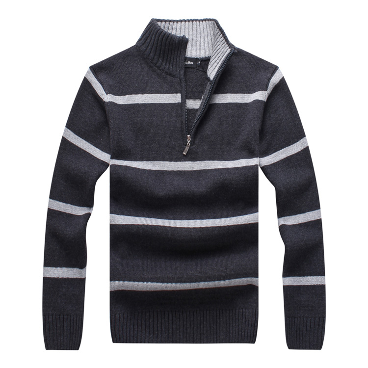 9503 Mens Sweaters Warm Fashion Winter Zipper Pullover Sweaters Man Casual Knitwear Clothing