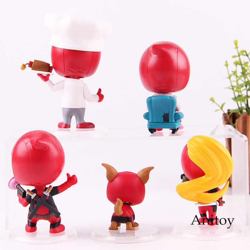 Kidpool Dogpool Headpool Chef Lounging Senhora Deadpool Figura de Ação Brinquedos Cosbaby Quentes Bonecos Bobble Head PVC Modelo Coleção de Brinquedos