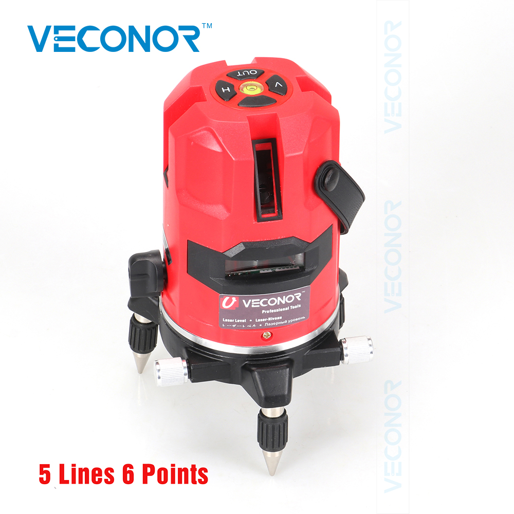 Veconor laser level 5 lines 6 points laser line projectors self leveling vertical horizontal line leveling tools thyssen parts leveling sensor yg 39g1k door zone switch leveling photoelectric sensors