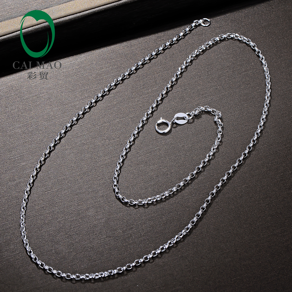 Caimao 18kt White Gold Chain 18 About 45cm Necklace love Best Gift For Women Mens yoursfs 18k rose white gold plated letter best mum heart necklace chain best mother s day gift