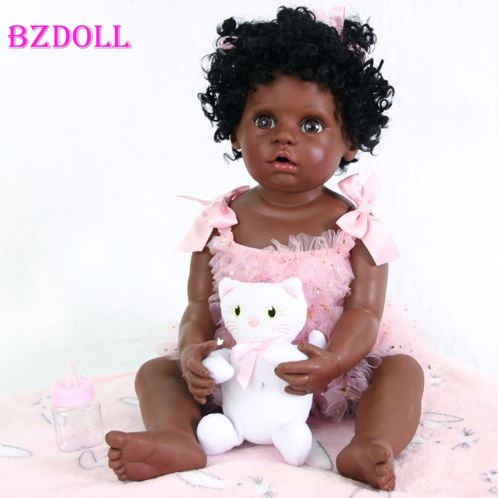 55cm Full Silicone Black Skin Reborn Baby Doll Toy For Girl Boneca Vinyl Newborn Babies Cute