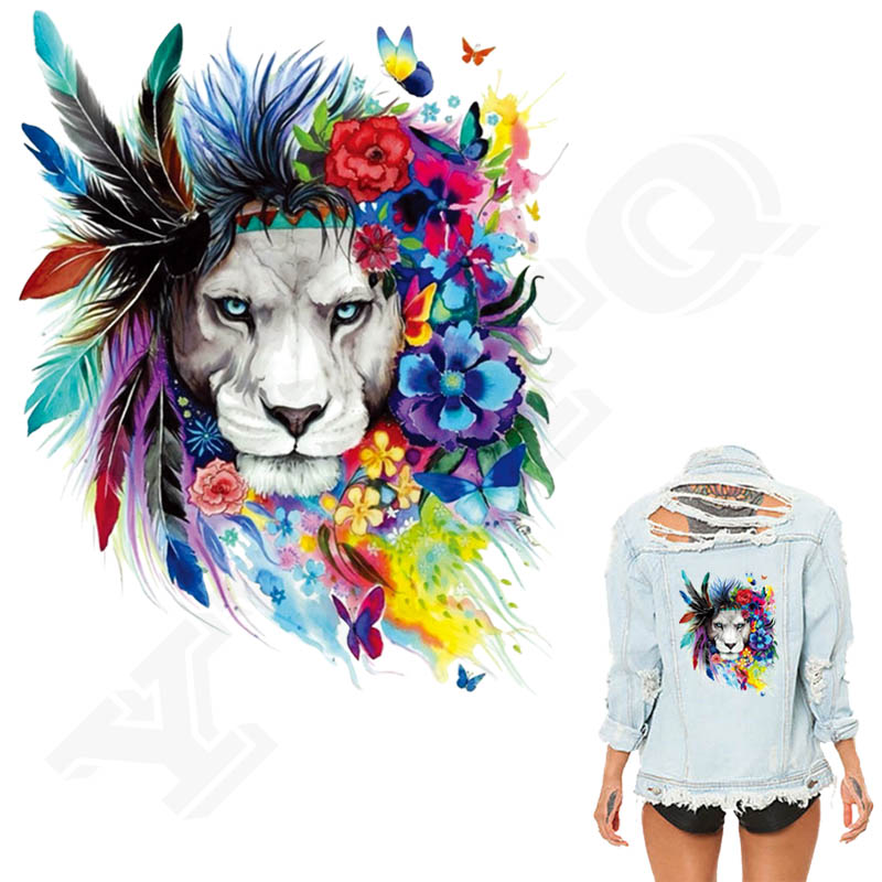 Colife Flower Lions Patches 20*25cm Iron-on Patches For Clothing A-level Washable Stickers Christmas Gift For Girls Boys