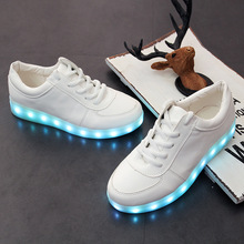 2016 Male Led Shoes Fashion Men's Lightning Shoes Leisure Shoes With Low Fluorescent Lamp Light Shoes Superstar Plus Size 34-46