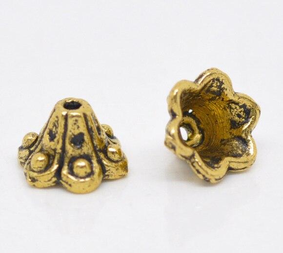 Zinc Metal Alloy Beads Caps Flower Gold Tone (Fits 8mm Beads) Dot Pattern 10mm( 3/8
