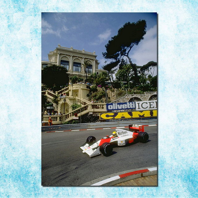 Ayrton Senna F1 Racing Champion Silk Canvas Poster 13×20 24×36 Inches