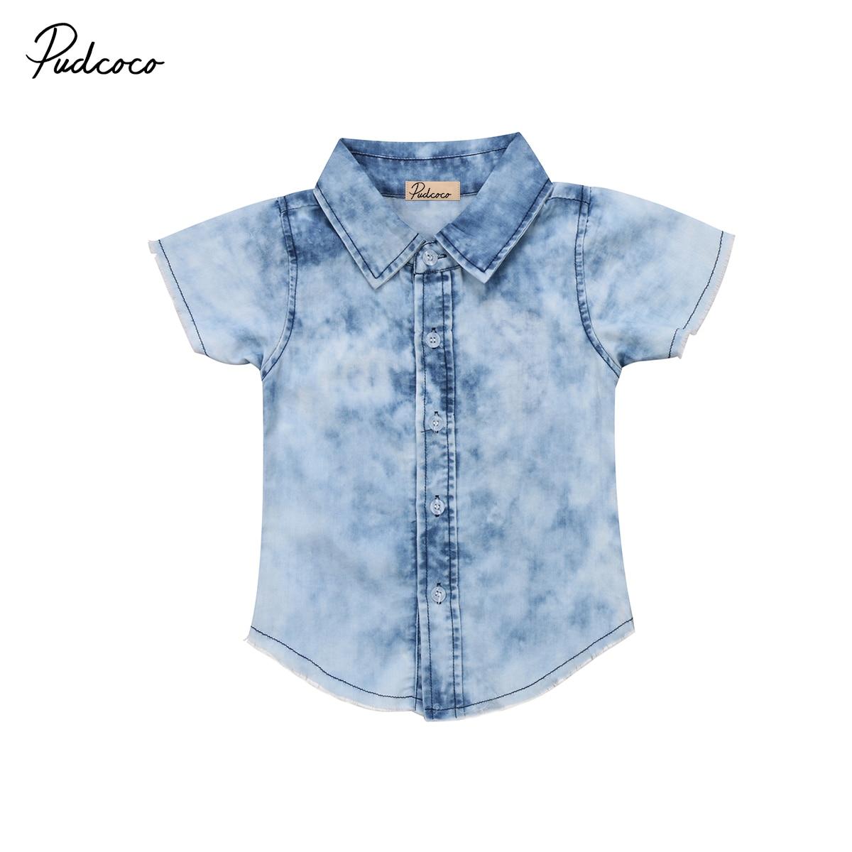 Shirts Kids Tops Short-Sleeve Print Newborn Toddler Baby-Boys Casual Fashion Jean Denim