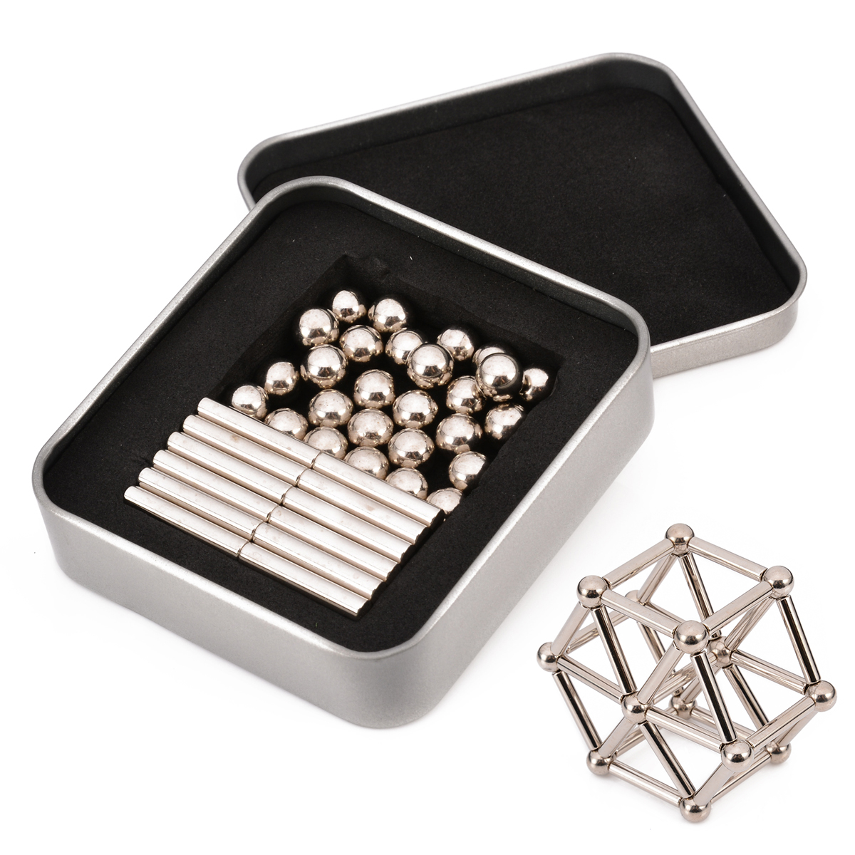 63pcs Strong Neodymium Magnet Sliver Bars & Metal Balls Creative Magnets NdFeB Permanent Magnets Gift Mayitr Magnetic Materials orient orient xcaa002b