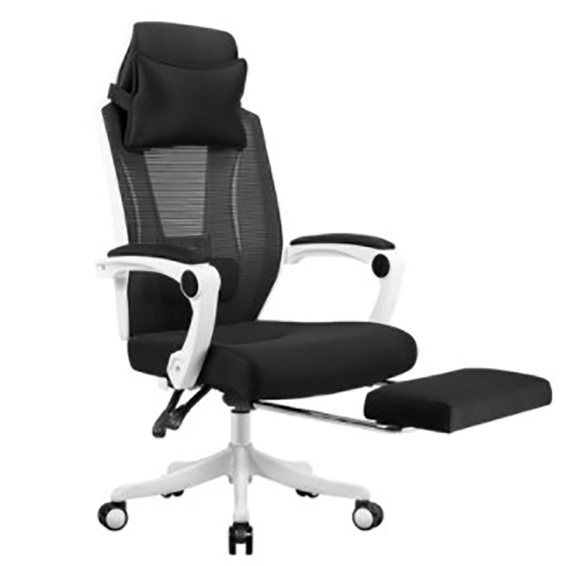 Reclining Lunch Break Office Chair Mesh Cloth Breathable Household Swivel Chair Lifted Casual Computer Chair With Footrest Soft