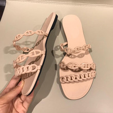 2fad2978a38e Hot Women Shoes Flat Sandal Slippers PVC Plastic Jelly Shoes Three Chains  Fashion Sandal Slides Summer
