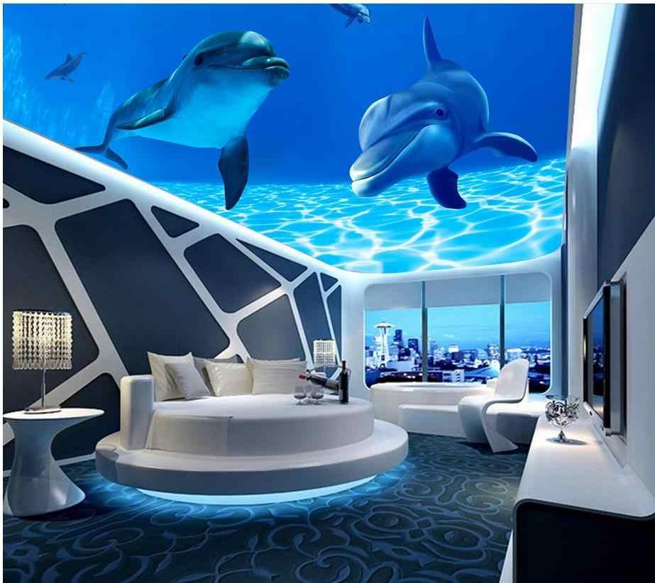 Papel pintado personalizado murales azul mundo submarino delfín techo fondos de pantalla para sala de estar no tejido papel pintado Fresco