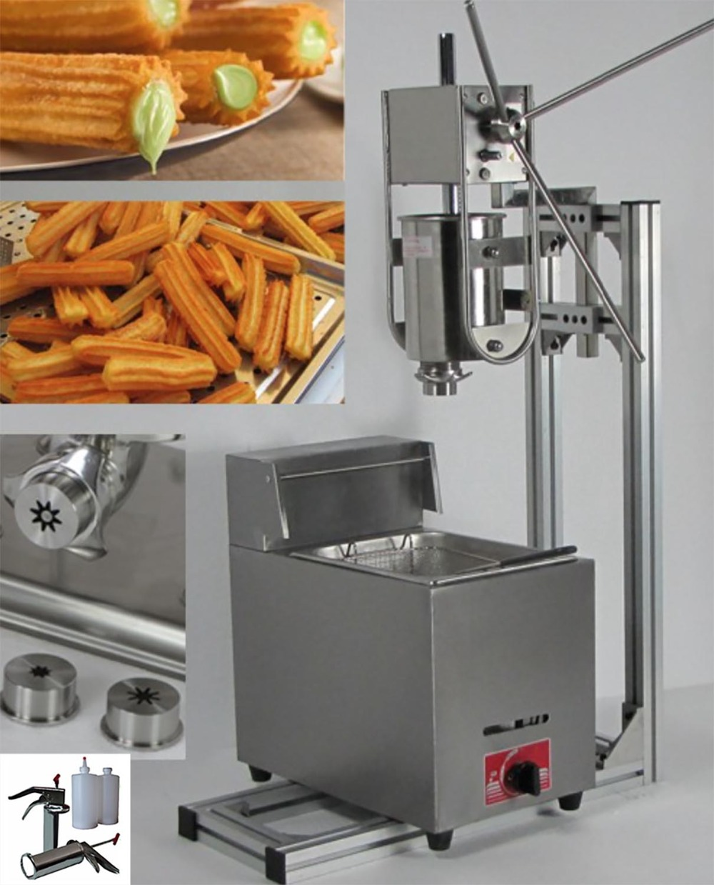 4 in 1 3L Manual Churros Maker + Working Stand + 6L Gas Fryer + 700ml Churros Filler fast food leisure fast food equipment stainless steel gas fryer 3l spanish churro maker machine