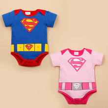 2020 New Arrival Baby Rompers Superman Baby boy girls jumpsuits Short Sleeve cotton Summer Baby clothes Rompers Blue Pink cheap spandex Fashion KLo989 Print O-Neck Bodysuits Unisex Fits smaller than usual Please check this store s sizing info