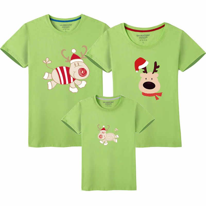 พ่อแม่เด็กครอบครัวชุดครอบครัวดู Christmas Family Matching Outfits T เสื้อลูกสาวแม่แขนสั้นพ่อ Son เสื้อผ้า