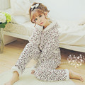 lovely pink leopard coral fleece pajamas cotton padded jacket layer thick clothes Home Furnishing lamb inside in winter