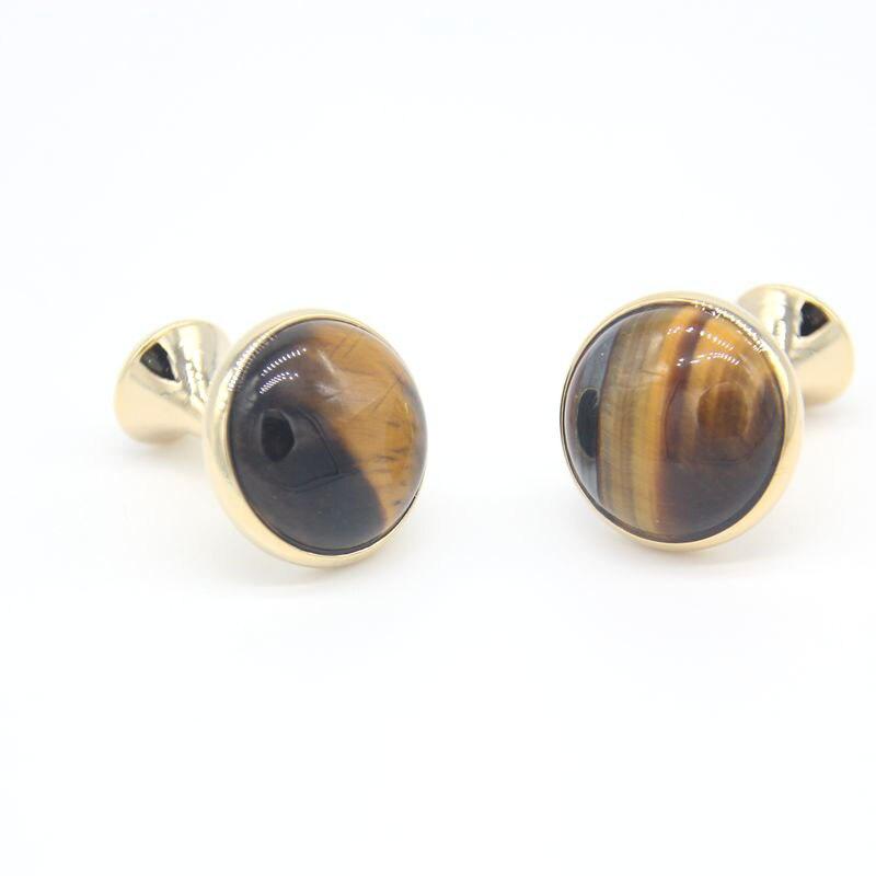 Lepton Beautiful Natural Eye Of Tiger Stone & Gold Mesh Wraparound Cuff links Fashion Men's French shirt cuffs cufflinks for Man