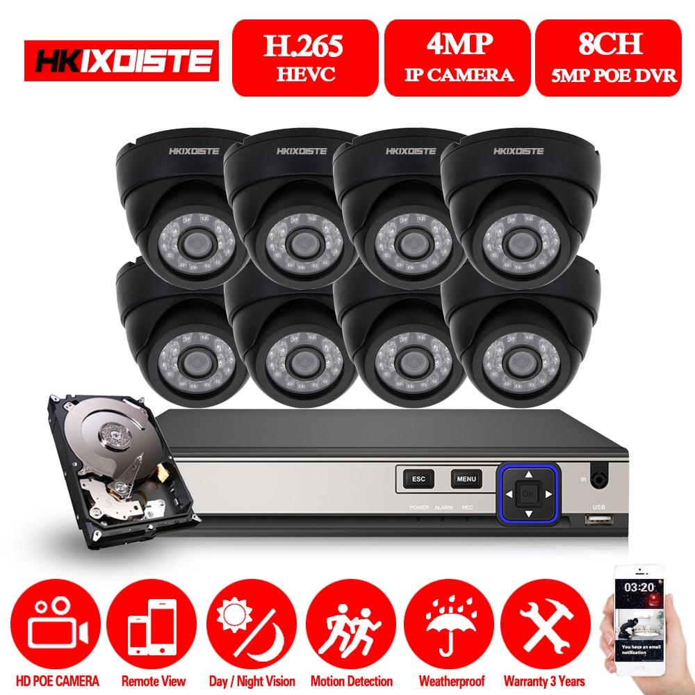 8CH 5.0MP HKIXDISTE HD NVR POE CCTV Kits Sistema de Câmera 4MP Black Dome POE Câmera IP de Vigilância de Vídeo Em Casa Segurança conjunto 2 TB HDD