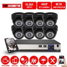 HKIXDISTE HD NVR 8CH 5.0MP видеокамера POE CCTV системы наборы 4MP Черный Купол IP камера POE Домашняя безопасность видео набор для наблюдения 2 ТБ HDD
