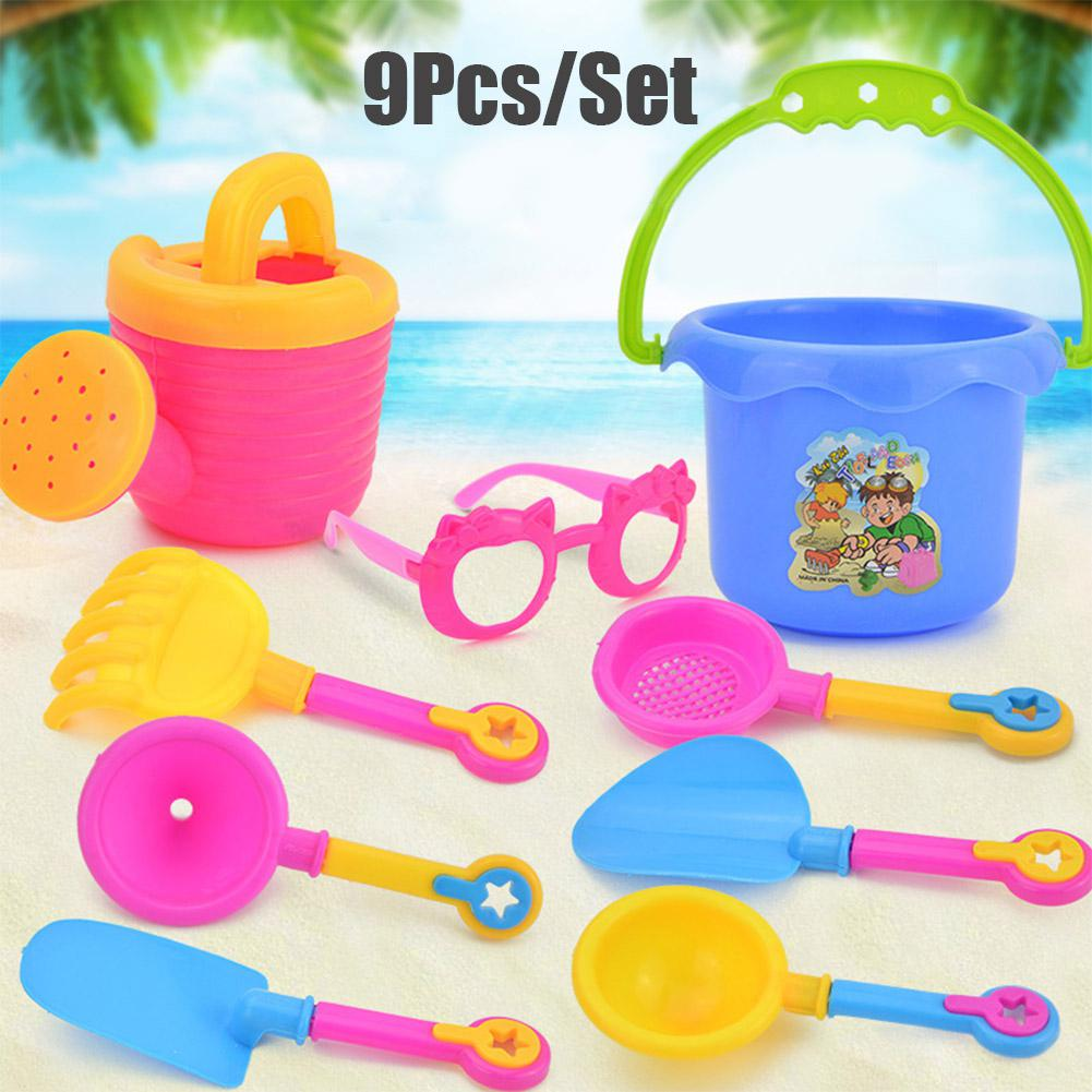 9Pcs/Set Simulate Kettle Bucket Shovel Funnel Glasses Beach Seaside Water Sand Play Toys