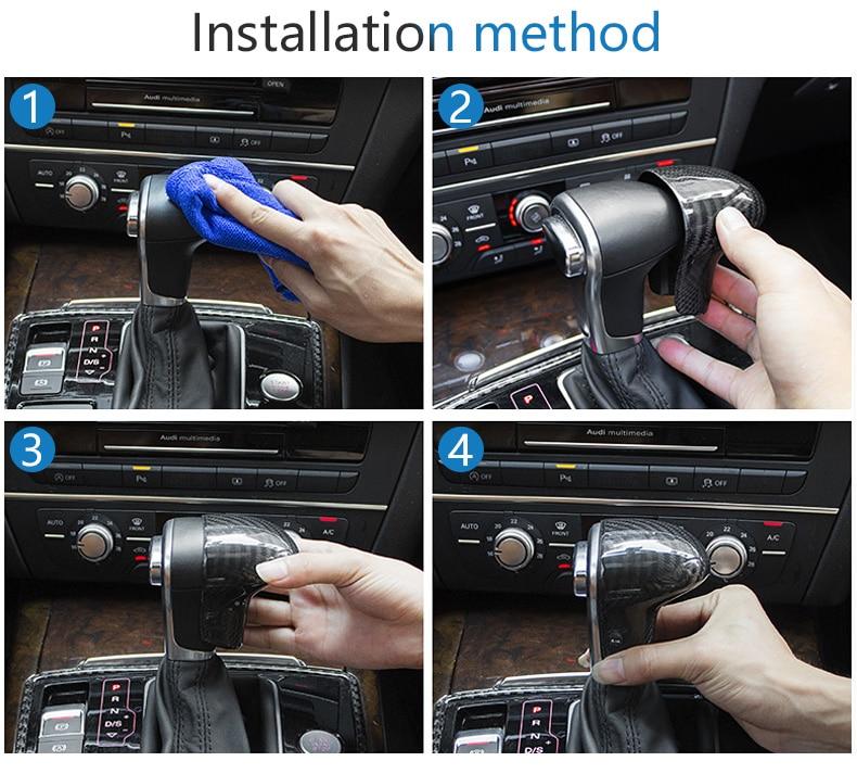 Carbon Fiber Gear Shift Knob Cover Head for Audi A4 B9 B7 A5 Q7 A3 S3 A4 B8 A5 C6 A6 C7 C6 S6 A7 S7 A8 Q5 Accessories (14)