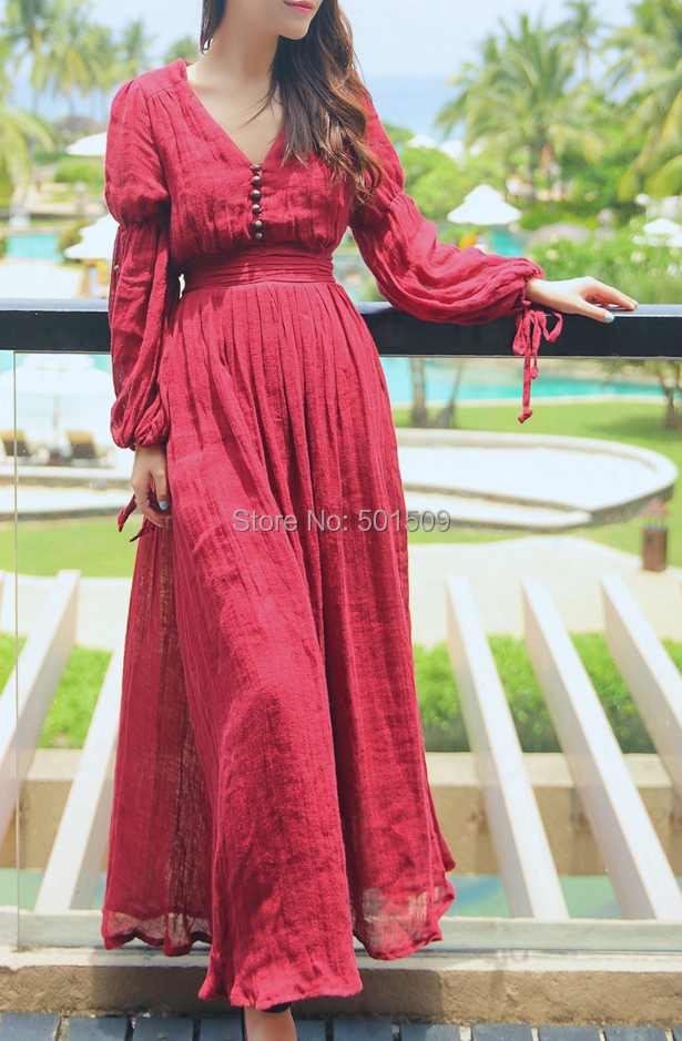 wine red long sleeve cotton and linen long medieval dress Renaissance Gown princess Victorian dress/Marie Antoinette