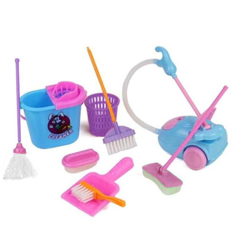 9pcs/set House Cleaning Tool Set Mini Broom Mop Simulation Cleaning Toys Children Pretend Play Toy Kit Dolls Accessories