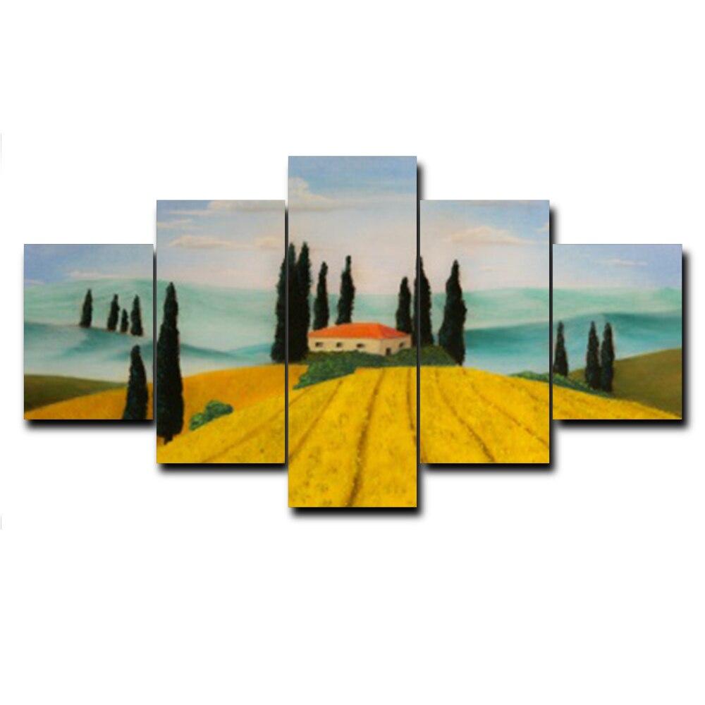 100% Waar Laeacco Herfst Veld Landschap Landschap Kunst Olieverf Canvas Doek Prints Foto Voor Bed Woonkamer Muur Home Decor Foto