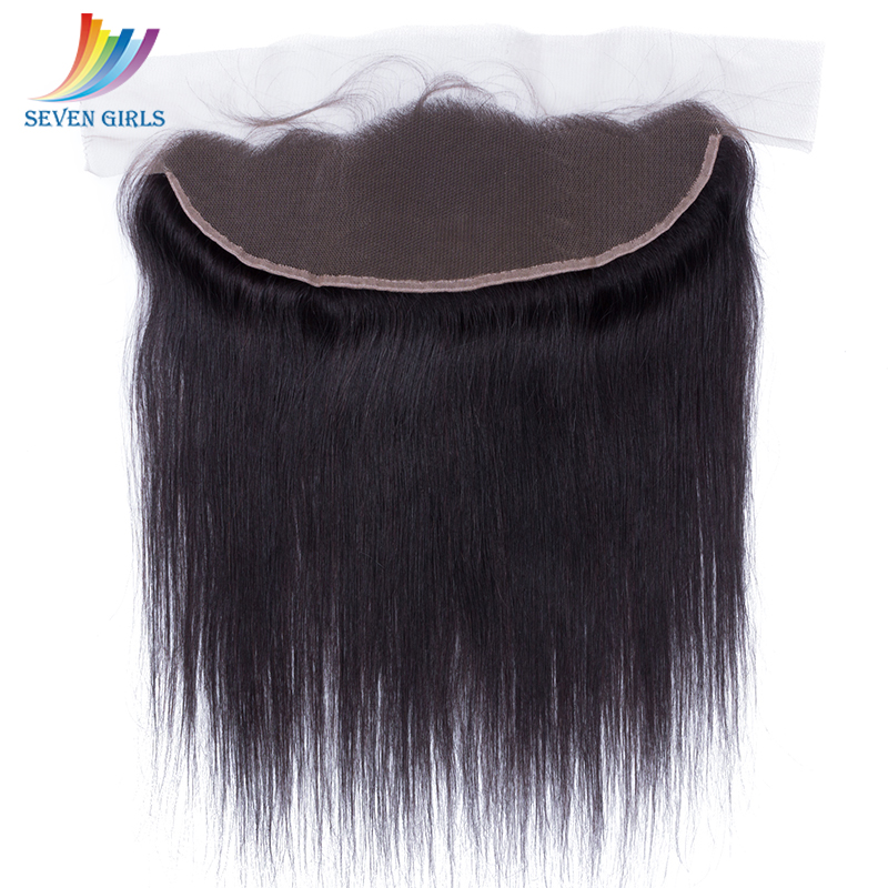 Sevengirls Malaysian Natural Color Straight Virgin Human Hair Frontal 13*4 Swiss Lace Frontal Free/Middle/Three Part Available