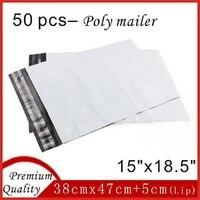 50 قطع 38 سنتيمتر x 47 سنتيمتر أعلى جودة الأبيض البولي مغلفات شحن أكياس البريدية حقائب الذاتي ختم البلاستيك 15