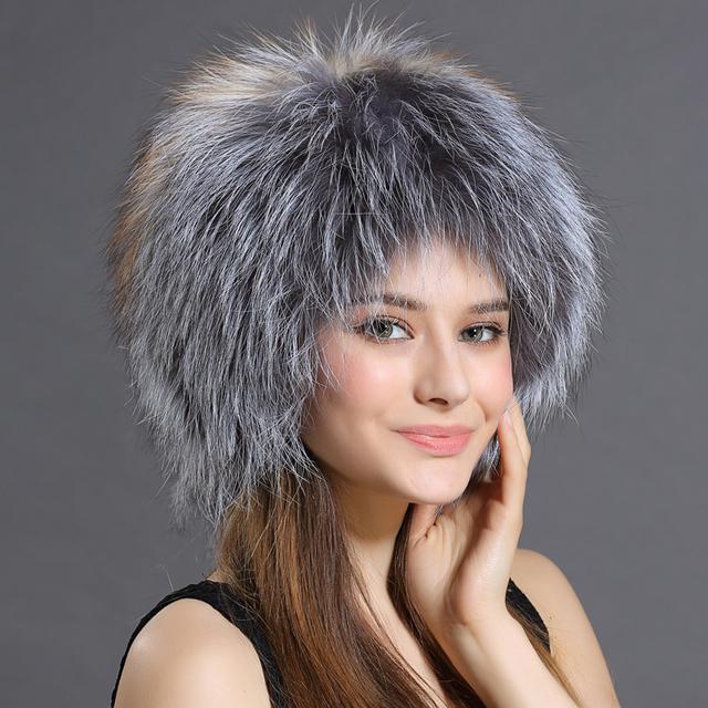 Mulheres clássicas Chapéus de inverno Tampas Tampão Do Inverno real da Pele De Fox Com dois Gols Após o Tempo tira Chapéus Grosso Morno do Inverno Das Mulheres Cap
