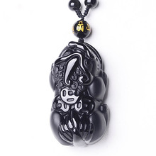 Chinese Carving Natural Black Obsidian zhaocai pixiu Pendant fine Jewelry brave troops Lucky amulet couple Necklace Wholesale цена в Москве и Питере