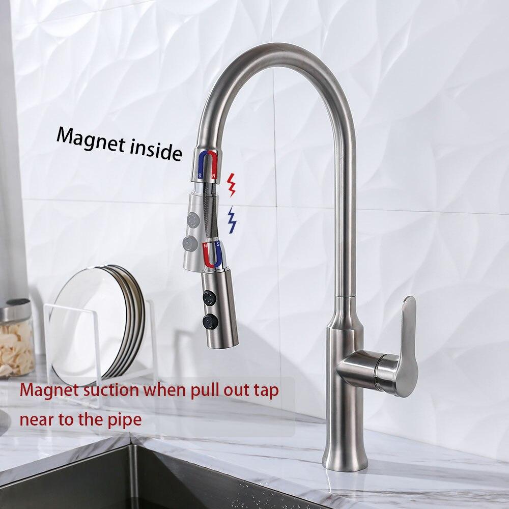 Magnet Saug Edelstahl Pull Out Kitchen Wasserhahn Doppel Funktionen Küche Waschbecken Wasser Mischer Gebürstet Fertig Solide Tap