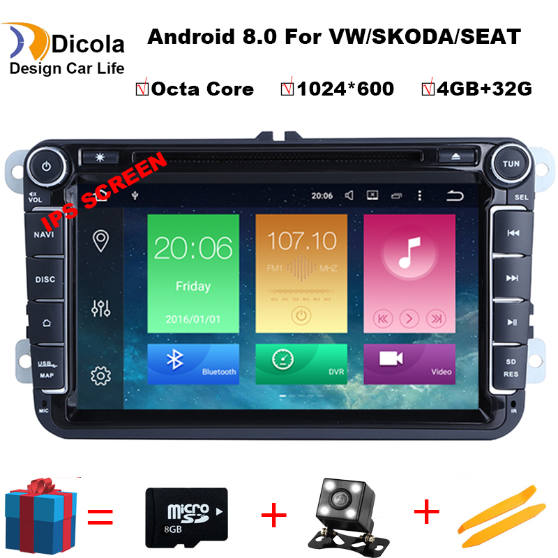 2 din Android 8.0 Octa Core 4 GB RAM DVD De Voiture pour VW Passat CC Polo DE GOLF 5 6 Touran EOS T5 Sharan Jetta Tiguan GPS Radio BT RDS