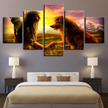 Canvas Poster Living Room Decor Framework 5 Pieces Native American Indian  With Animal Wolf Paintings Wall Art HD Prints Pictures