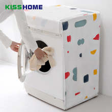 Geometric Floral Waterproof Washing Machine Cover PEVA Home Household Dust-proof Covering For Drum Machines