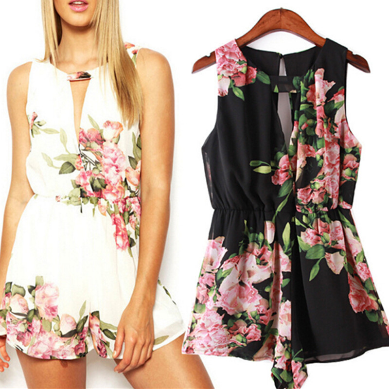 New Fashion Summer Flower Floral Printed Jumpsuits Black White Girls Hot Shorts Printing Rompers