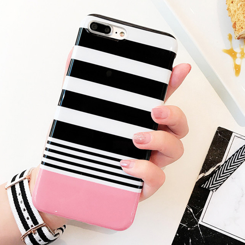 LOVECOM Fashion Black White Stripe Phone Case For iPhone 7 7 Plus Glossy Soft IMD Phone Back Cover Coque