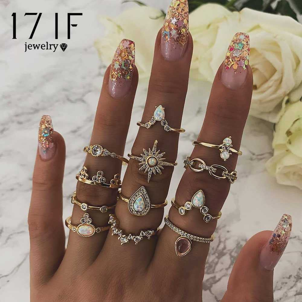 17IF 12 Pcs/Set Bohemian Vintage Crown Water Drops Stars Geometric Crystal Ring Set Women Charm Ring Party Wedding Jewelry Gifts